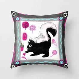 Woodland Bohemian Skunk, Forest Animal, Woodland Creatures Throw Pillow