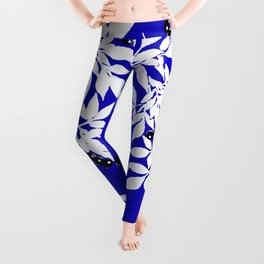 LEAF AND TREE BRANCHES BLUE AD WHITE BLACK BERRIES Leggings