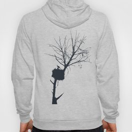 Silhouette Of Stalk Nest and Fledglings Vector Hoody