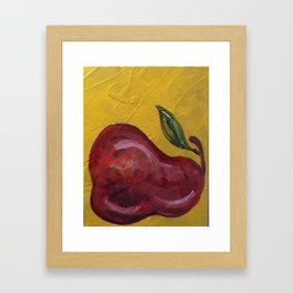 Red Pear Yellow Framed Art Print