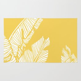 Banana Leaves on Yellow #society6 #decor #buyart Rug