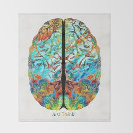 Colorful Brain Art - Just Think - By Sharon Cummings Throw Blanket