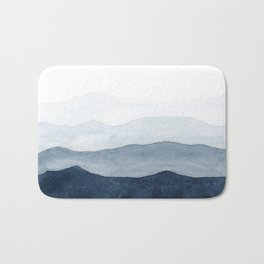 Indigo Abstract Watercolor Mountains Bath Mat