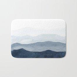 Indigo Abstract Watercolor Mountains Badematte