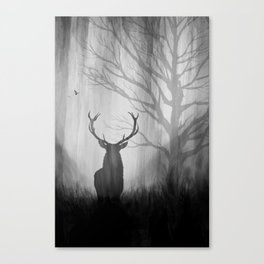 Black and White Stag Silhouette Canvas Print
