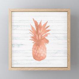 Rose Gold Pineapple on Wood Nautical Decor Framed Mini Art Print