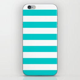 Horizontal Stripes - White and Cyan iPhone Skin