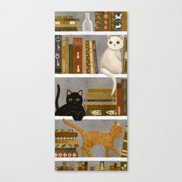 cat bookshelf Canvas Print