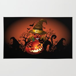 Skull Witch Creepy Halloween Rug