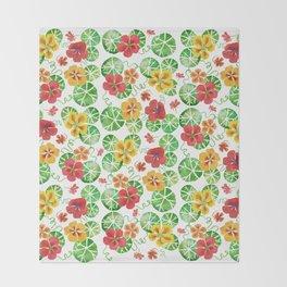 Watercolor Nasturtiums Throw Blanket
