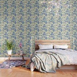 Chickadees  in Blue Wallpaper