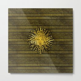 Apollo Sun Symbol on Greek Key Pattern Metal Print