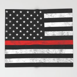 Thin Red Line Flag Throw Blanket