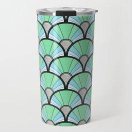 Green Pastel Art Deco Fan Pattern Travel Mug