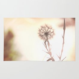 Pink Distant Dandelion Flower - Floral Nature Photography Art and Accessories Rug