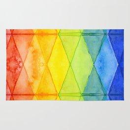 Geometric Abstract Rainbow Watercolor Pattern Rug
