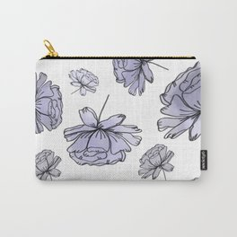 Hand Drawn Peonies Lilac Carry-All Pouch