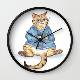 Tea time with monocle cat Wall Clock