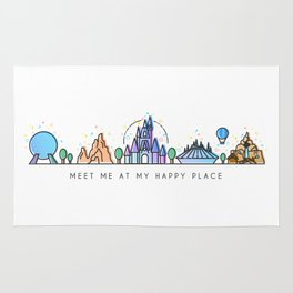 Meet me at my Happy Place Theme Park Skyline Rug