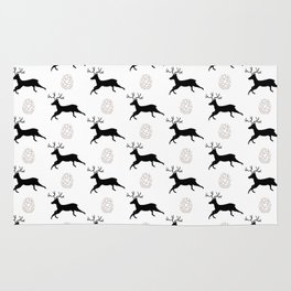 Jumping Deer and Pinecone Rustic Illustrated Print Rug