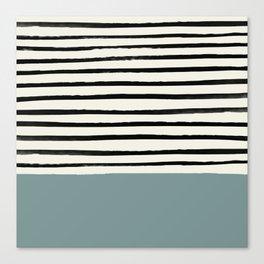 River Stone & Stripes Canvas Print