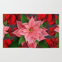 DECORATIVE  RED & PINK POINSETTIAS CHRISTMAS ART Rug