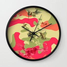 Charming Camo: Hummingbird Camouflage Wall Clock