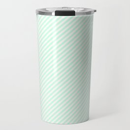 Mini Pale Summer Mint Green Pastel and White Candy Cane Stripes Travel Mug