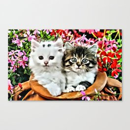 TWO CUDDLY KITTENS Canvas Print