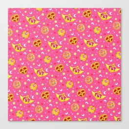 Sailor Moon Brooches Pattern - Pink / Sailor Moon Canvas Print