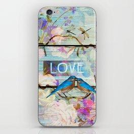 Love Birds on wood iPhone Skin