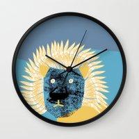 leon Wall Clocks featuring Lion leon by yael frankel