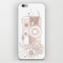 Floral Camera Pink Rose Gold iPhone Skin