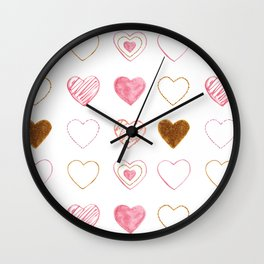 Pink and Gold Hearts Doodle Art Wall Clock