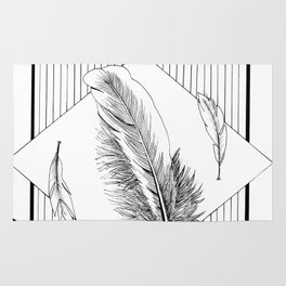 Seagulls with feathers - Ink artwork Rug