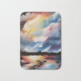 Moody Sunset, Dark Sunset, Abstract Sunset, Seascape, Sunscape, Skyscape Bath Mat