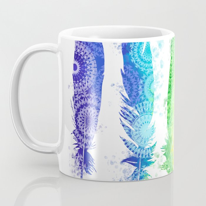 rainbow mandala feathers Coffee Mug