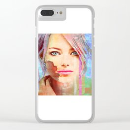 my android lover... bit her face off... can u fix her? Clear iPhone Case