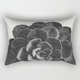 Succulent Black Marble Rectangular Pillow