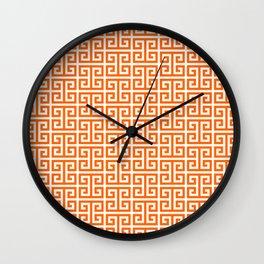 Orange and White Greek Key Pattern Wall Clock