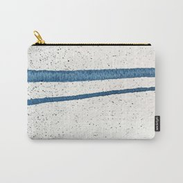 Parallel Universe [horizontal]: a pretty, minimal, abstract piece in lines of vibrant blue and white Carry-All Pouch
