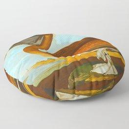 Brown Pelican Illustration Floor Pillow