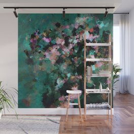 Contemporary Abstract Wall Art in Green / Teal Color Wall Mural