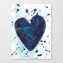 Splattered blue heart Canvas Print