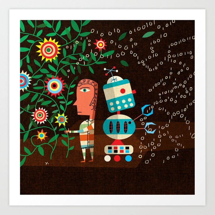 """""""Robots Can't Dance"""" by James Yang for Nautilus Art Print"""