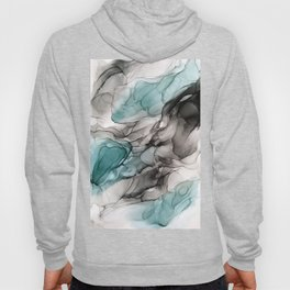 Smoky Grays and Green Abstract Flow Hoody