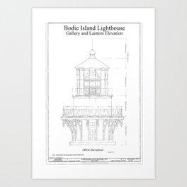 Blue print art prints society6 vintage bodie island lighthouse blueprint art print malvernweather Image collections