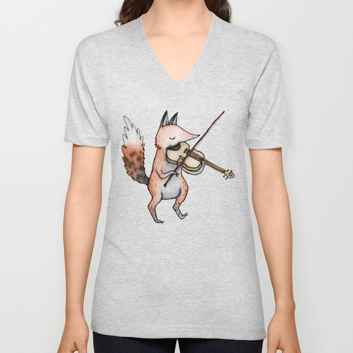 Violin Fox Unisex V-Neck