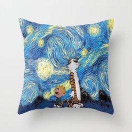Calvin Hobbes Starry Night Throw Pillow