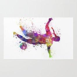Girl playing soccer football player silhouette Rug